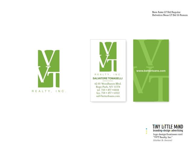 VVT Realty logo|business card B